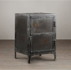 RH's Industrial Tool Chest Side Table:An exact replica of an early 1900s French industrial original, this tool box was used by workers in an automobile factory to store their personal set of tools under lock and key.