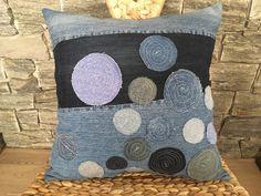 Denim Pillow , Decorative Pillow with Denim Patches , Denim Decorative Throw Pillow , Boho Pillow , Denim Sham Pillow , Living Room Decor by SecondBirthday on Etsy