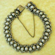 Antique German Vermeil 800 Silver Repoussé Link Charm Bracelet Gorgeous | eBay