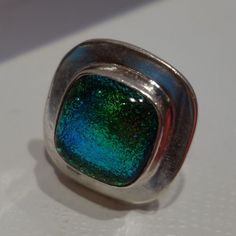 LARGE GREEN BLUE DICHROIC GLASS FUSED TASCO SILVER 0NE OF A KIND RING 7.5 #CONTEMPORYSTATEMENT