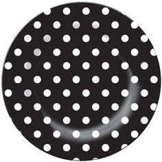 black polka dot melamine plates