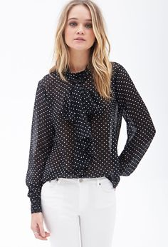 Sheer Polka Dot Blouse - Tops - 2000104927 - Forever 21 EU
