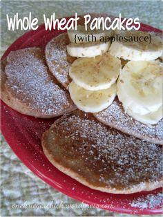 Healthy whole wheat applesauce pancakes