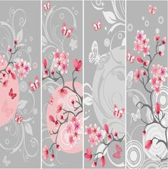 Different Floral background vector graphic