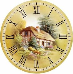 T t Clock face cottage centre Paper Clock, Clock Art, Diy Clock, Clock Decor, Clock Painting, China Painting, Clock Printable, Clock For Kids, Printable Pictures