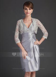 Sheath V-neck Knee-Length Taffeta Lace Mother of the Bride Dress (008021085) - JJsHouse