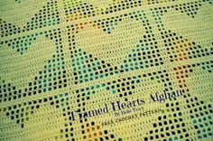 Free crochet pattern baby afghan. This afghan is worked in one piece. This is multiple of 38 + 11. This means, if you wish your afghan to be bigger keep adding more 38 stitches plus the 11 extra stitches. The extra stitches are for mesh border around the whole afghan and the solid border around each heart blocks.