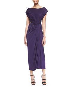 Cap-Sleeve Open-Cross-Back Dress, Dark Purple by Donna Karan at Neiman Marcus.
