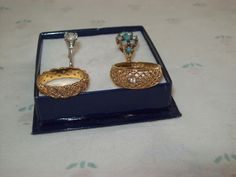 Avon Gold Tone Sterling CZ Turquoise Braided Mesh Rings Size 7 Lot of 4 #Avon