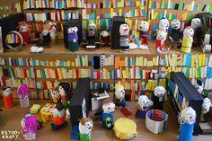 "Model about the book ""Library Lion"" / Maqueta interpretació del llibre ""El lleó de la biblioteca"". Join us on www.facebook.com/estudikraft 12 Year Old, Crafts For Kids, Workshop, Projects, Home Decor, Crafts For Children, Log Projects, Atelier, Blue Prints"