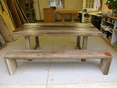 reclaimed wood table Desk Ideas, Wood Ideas, Reclaimed Wood Benches, Barn Wood Decor, Bunker, Wood Table, Dyi, Repurposed, Roots