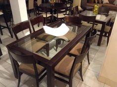 mesa de comedor de m por m con vidrio templado y sillas carolina sillas