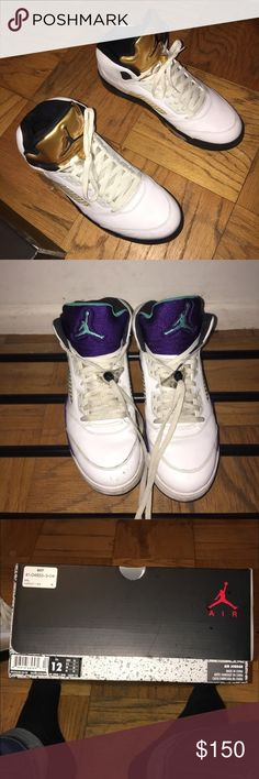 Jordan 5s Bundle 2016 Olympic Gold Jordan 5s:  Size 12 9.5/10 Condition Worn Once Box  2013 Grape Jordan 5s:  Size 12.5 (Fits 12) 7/10 Condition ( New Laces and Clean up = 8/10) Used But Good Condition No Box   Only asking 130$ for both pairs together.   Take these off my hands showing love for the new year with this dirt low price for two pairs of nice 5s. Jordan Shoes