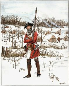 A soldier of the British 38th Regiment of Foot in winter quarters along the old Blackstump Road (modern 73rd Ave) in Queens County, Long Island, New York in 1779.