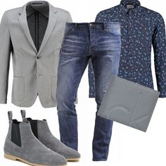 Questo outfit basic da tenere nel guardaroba maschile è composto da una camicia in micro fantasia e giacca sportiva con tasche applicate e un paio di jeans, per un uomo dal look ricercato ma senza troppe pretese.