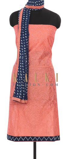 Buy this Peach-unstitched-suit-adorn-in-thread-and-zari-only-on-Kalki