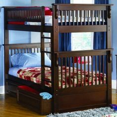 Colorado Twin over Twin Bunk Bed in Antique Walnut - Bed Size: Twin/Twin Beds can be separated into two beds Solid hardwood mortise and tenon construction With its one inch hardwood long rails, rock solid Eco-friendly Hardwood 2x4 posts and built in modesty panel, you cannot get a more concrete bed 26 Steel Reinforcement Points Designed for durability Accepts under bed storage drawers or trundle bed 5 step high build finish Engineered for easy assembly www.bunkbeddeals.com