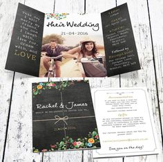 Are you interested in our chalkboard floral wedding invitation? With our personalised charming gatefold invitation you need look no further.