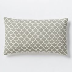 Scalloped Crewel Pillow Cover - Platinum | west elm