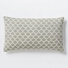 Scalloped Crewel Pillow Cover - Platinum | West Elm