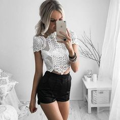 Summer Style Elegant Lace Crochet Cop Top Girls Short Sleeve White Short Top Women Sexy Hollow Out Tops #Affiliate