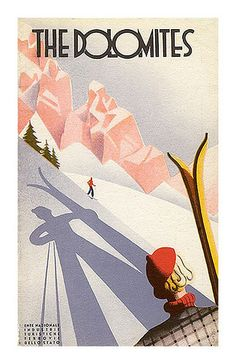 Vintage Travel Vintage Ski Poster Ad 'Dolomites' Mehr - Poster Mounting Board: MDF Board Poster Surface Finish: Clear Semi-Rough Matte Textured Finish (protects posters from moisture and fading) Frame Color: Black Ski Vintage, Vintage Italian Posters, Vintage Ski Posters, Retro Poster, Photo Vintage, Art Deco Posters, Poster Ads, Retro Print, Vintage Italy