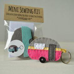 Mini Caravan Keyring Sewing Kit by fibrespace on Etsy