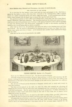Table set for 'Service a la Francaise', from Charles Ranhofer's 'The Epicurean' (New York, 1894)