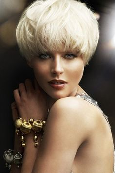 Bleach Blonde Blown Out Pixie/Bowl Cut