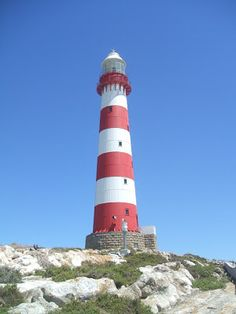 Lighthouses of S Africa Dassen Island Lighthouse was commissioned in 1893. It is a 28 meter circular iron tower on an Island of about 200 acres - 9 km offshore. It is protected by Cape Nature Conservation with Southern Right whales and plenty of crayfish in the area. It is home to African Penguins, White Flamingos and plenty of rabbits and seagulls. Many a ship went aground here including the first Windsor Castle. It is accessed by boat or helicopter. Posted by Joe Viljoen