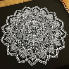 Stunning big mandala design white on black