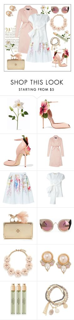 """""""Spring Love"""" by frenchfriesblackmg ❤ liked on Polyvore featuring Brian Atwood, Rochas, Ted Baker, Marni, Alexander McQueen, Quay, J.Crew, Carolee, Verso and DesignSix"""