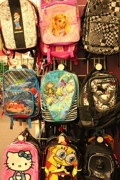 Just a few of the great backpacks that our youth get to choose from!