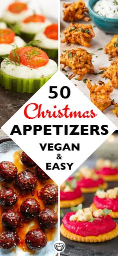 50 DELICIOUS AND EASY VEGAN APPETIZERS - The clever meal : These delicious and easy vegan appetizers are what you'll need for your Christmas feast. The most incredible, healthy and inexpensive party food perfect to please a crowd! Vegan Appetizers, Holiday Appetizers, Appetizer Recipes, Holiday Recipes, Dinner Recipes, Holiday Parties, Parties Food, Thanksgiving Appetizers, Holiday Meals