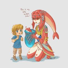 Legend of Zelda Breath of the Wild art > Zora Champion Princess Mipha introducing young Link to her baby brother Prince Sidon The Legend Of Zelda, Legend Of Zelda Memes, Legend Of Zelda Breath, Metroid, Sidon Zelda, Prince Sidon, Princesa Zelda, Botw Zelda, Baby Prince