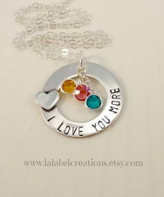 Birthstone Necklace I Love You More Sterling Silver Hand Stamped Jewelry, Mother's Day Gift by Lalabel Creations
