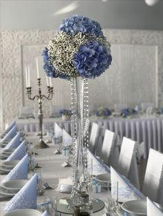 Dekoracja weselna Gipsowka i hortensja niebieska