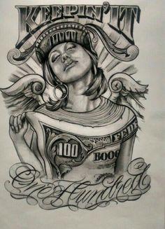 dollar impression on girl art Boog Tattoo, Chicanas Tattoo, Money Tattoo, Tattoo Sketches, Tattoo Drawings, Body Art Tattoos, Sleeve Tattoos, Art Drawings, Chicano Art Tattoos
