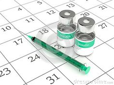 3d rendering of insulin vials and syringe over calendar