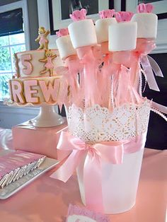 Marshmallow pops for a Ballerina/Ballet Birthday Party Princess Tea Party, Princess Birthday, Girl Birthday, Princess Wands, Pink Princess, Birthday Ideas, Birthday Crowns, Princess Theme, Ballerina Birthday Parties