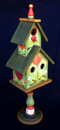 GREEN CONDO BIRDHOUSE On A Pedestal Base With Hand by KrugsStudio,