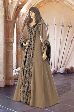 Medieval Maiden Dress No. 10 Brown ornaments - 111.89 USD - Medieval and Renaissance Clothing, Handmade by Your Dressmaker