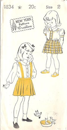 1940s Childs Suspender Skirt and Blouse Vintage by MissBettysAttic, $10.00