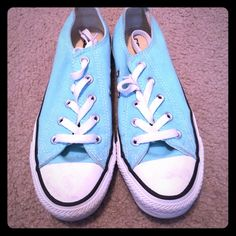 Tiffany Blue converse! Only wore twice! Tiffany blue converse! Perfect condition. Converse Shoes