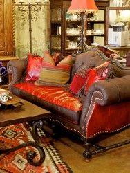 carved wooden sofa .. love the orange!