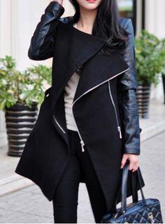 Stylish Stand-Up Collar Long Sleeve Zippered Spliced Women's Coat