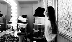 girl in dressing room lights