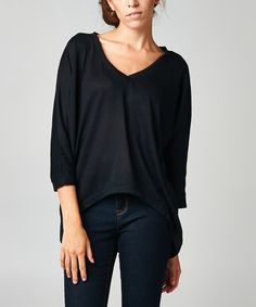 Another great find on #zulily! Black V-Neck Hi-Low Top #zulilyfinds