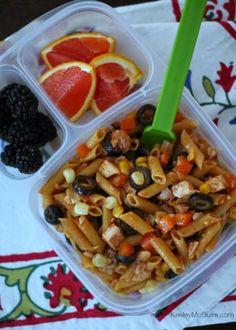 Gluten Free Mesquite Chicken Pasta Salad packed in an EasyLunchboxes container #glutenfreeonabudget