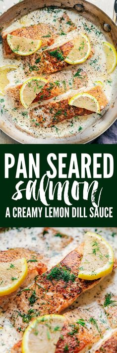 Pan Seared Salmon with a Creamy Lemon Dill Sauce is perfectly crispy and flaky salmon that is in the most amazing creamy lemon dill sauce.